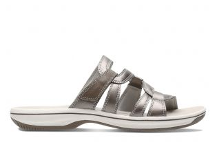 Clarks Womens Brinkley Lonna Pewter Synthetic Sandals